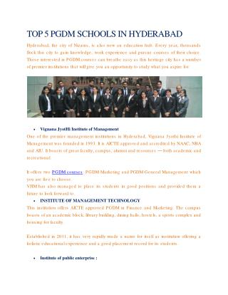TOP 5 PGDM SCHOOLS IN HYDERABAD
