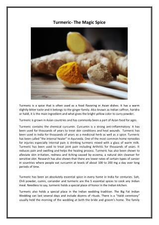 Turmeric  the magic spice