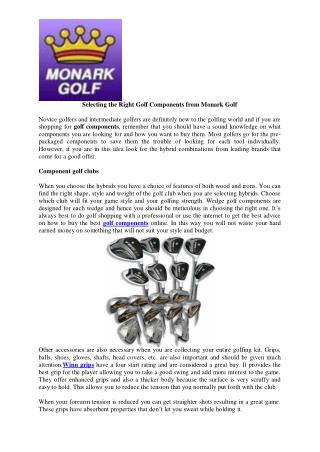 Selecting the Right Golf Components from Monark Golf