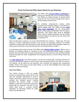 Check Out Serviced Office Space Rental for your Business