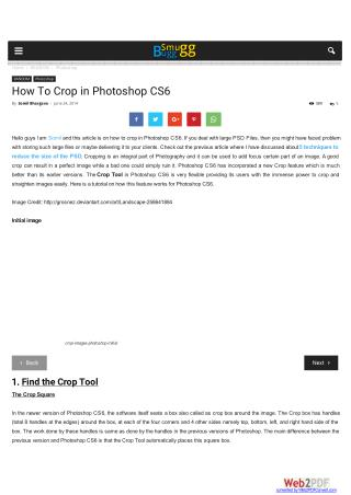 How To Crop in Photoshop CS6