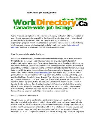 Find Canada Job Posting Portals