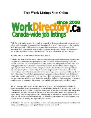 Free Work Listings Sites Online