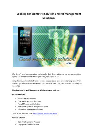 Looking for Biometric Solution and HR Management Solutions