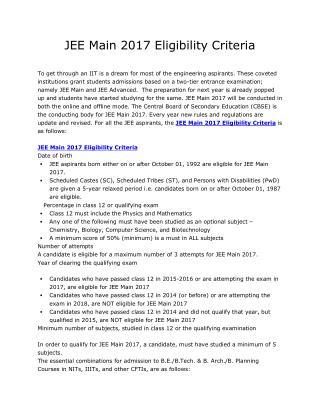 JEE Main 2017 Eligibility Criteria