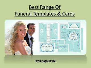 Best Range Of Funeral Templates & Cards