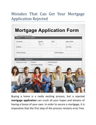 Mistakes That Can Get Your Mortgage Application Rejected