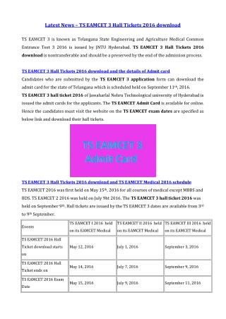 Latest News – TS EAMCET 3 Hall Tickets 2016 download