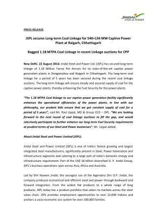 JSPL secures Long-term Coal Linkage for 540 134 MW Captive Power Plant at Raigarh