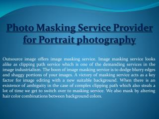 Photo Masking Service Provider for Portrait photography