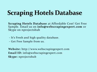Scraping Hotels Database