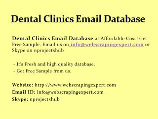 Dental Clinics Email Database