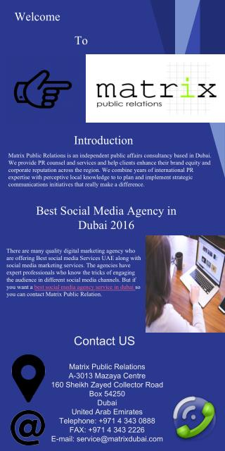 Best social media agency in dubai 2016 Matrix PR Dubai