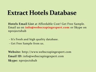 Extract Hotels Database