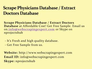 Scrape Physicians Database_Extract Doctors Database