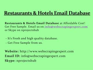 Restaurants & Hotels Email Database