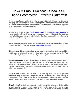 Have A Small Business? Check Out These Ecommerce Software Platforms!