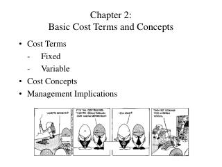 Chapter 2: Basic Cost Terms and Concepts