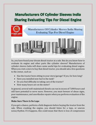Manufacturers of Cylinder Sleeves India Sharing Evaluating Tips for Diesel Engine