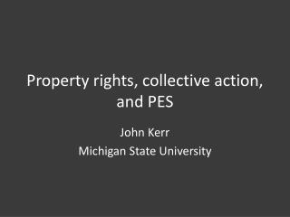 Property rights, collective action, and PES