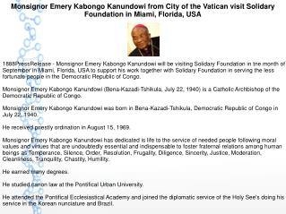 Monsignor Emery Kabongo Kanundowi from City of the Vatican visit Solidary Foundation in Miami, Florida, USA