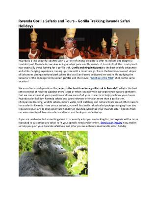 Achieve Global Safaris, Rwanda
