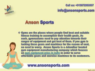 Anson Sports offers Affordable Gym Equipment Price in India
