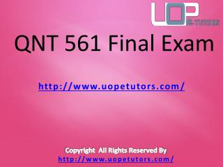 QNT 561 Final Exam - QNT 561 Final Exam Questions and Answers - UOP E Tutors