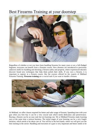 Best Firearms Training at your doorstep
