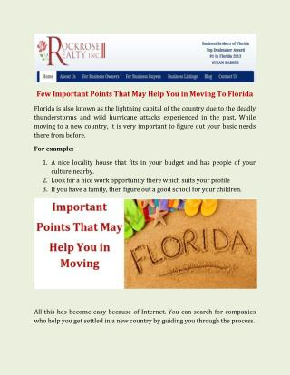 Few Important Points That May Help You in Moving To Florida | Floridabusinesses.net