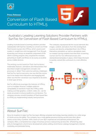 Australia's Leading Learning Solutions Provider Partners with SunTec for Conversion of Flash Based Curriculum to HTML5