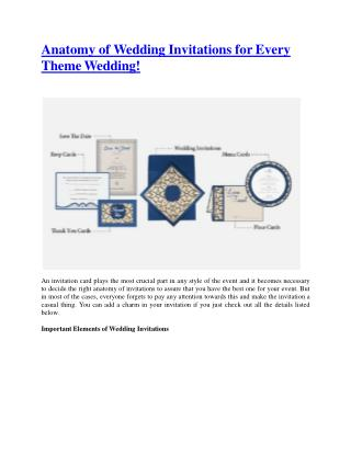 Anatomy Of Wedding Invitations For Every Theme Wedding!