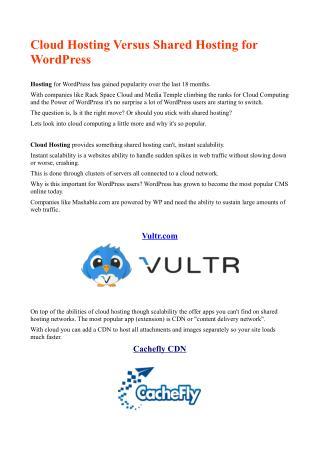 Cloud Hosting Versus Shared Hosting for WordPress