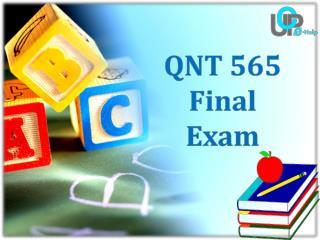 QNT 565 Final Exam - QNT 565 Final Exam Answers | UOP E Help