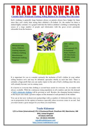 Consider Kid's Wholesale Clothing Selling Business for Earning More Revenues
