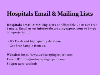 Hospitals Email & Mailing Lists