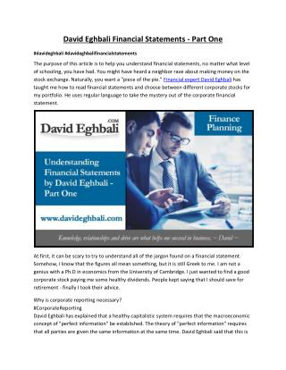 David Eghbali's Part-1 Financial Statements