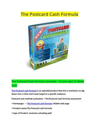 The Postcard Cash Formula