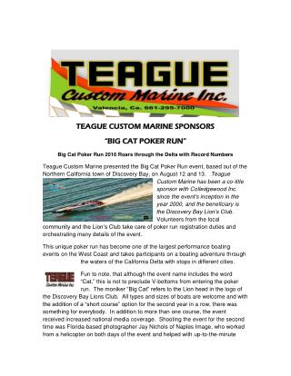 "TEAGUE CUSTOM MARINE SPONSORS ""BIG CAT POKER RUN"""