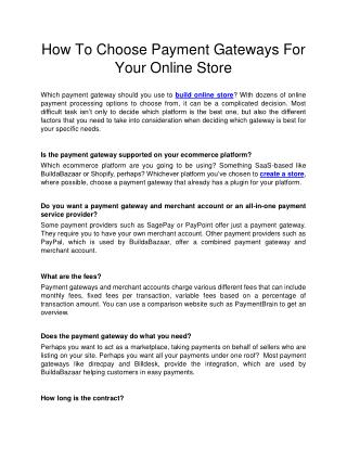 How To Choose Payment Gateways For Your Online Store
