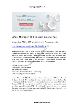 Latest Microsoft 70-346 exam practice test
