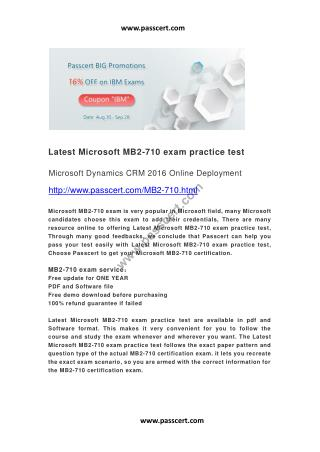 Latest Microsoft MB2-710 exam practice test