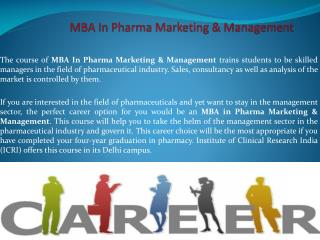 Study MBA In Pharma Marketing & Management for a Brighter Future!