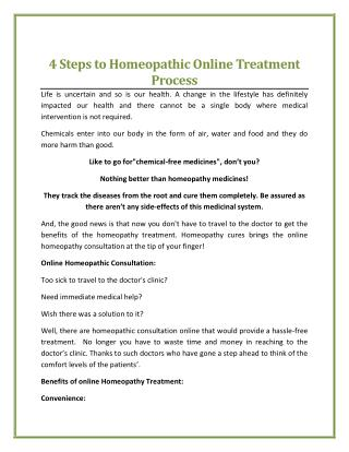 4 Steps to Homeopathic Online Treatment Process