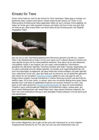 Einsatz für Tiere
