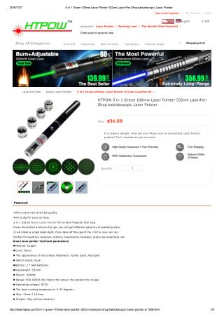 HTPOW 100mw Green Laser Pointer Pen