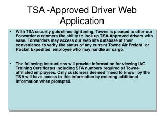 TSA -Approved Driver Web Application