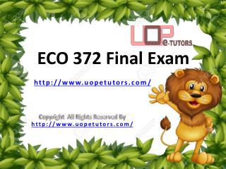 ECO 372 Final Exam Questions & Answers