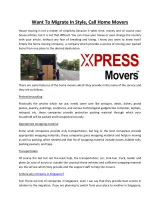 Want To Migrate In Style, Call Home Movers