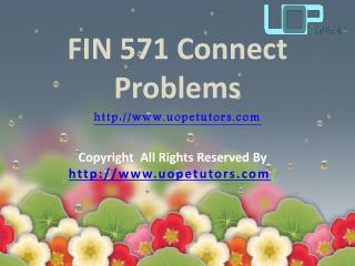 FIN 571 Connect Problems Questions & Answers